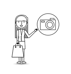 drawing girl shopping with camera vector image