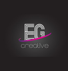 Eg e g letter logo with lines design and purple vector