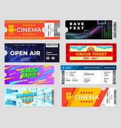 Entertainment tickets concert cinema event flyers vector