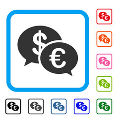 Euro transaction messages framed icon vector