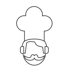 face chef restaurant symbol thin line vector image