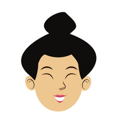 Face portrait young asian woman cartoon vector