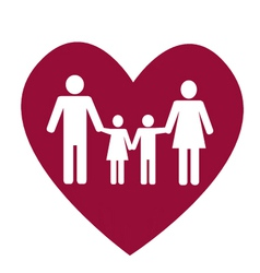 Family and heart vector