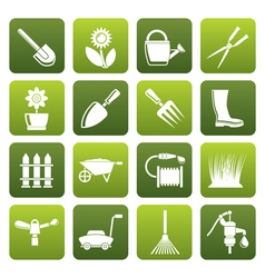 Flat Garden and gardening tools and objects icons vector image