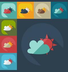 Flat modern design with shadow icons cloud sun vector