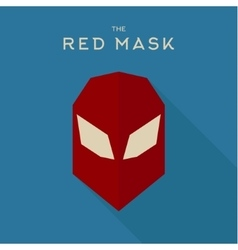 Flat red mask Hero on a blue background with white vector