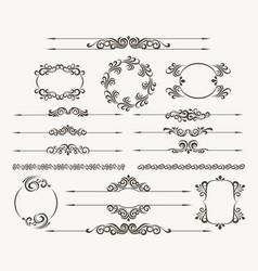 Floral filigree design element set vector