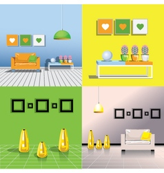 Four images of the interiors of the room vector image