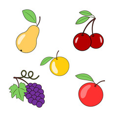 Fruits and berries on a transparent background vector