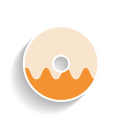 Glazed doughnut flat color icon object of fast vector