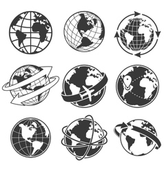 Globe concept set monochrome vector