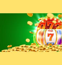 Golden slot machine wins the jackpot big win vector