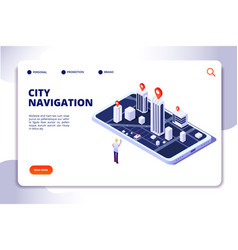 Gps isometric concept navigation city 3d map vector