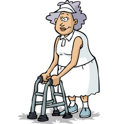 grandmother on crutches vector image