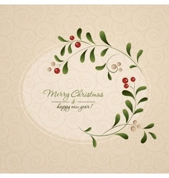 Green sprig with red berries frame isolated vector