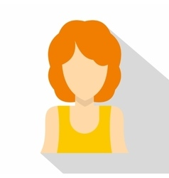 Haired girl icon flat style vector