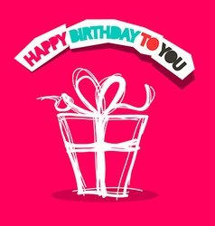 Happy Birthday to You Title with Gift Box Outline vector image vector image