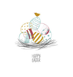 happy easter greeting card with eggs and a chick vector image