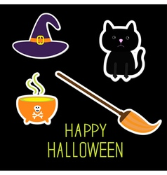 Happy halloween witchs set ghosts pumpkin candies vector