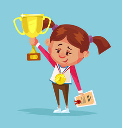happy smiling little girl winner holds golden cup vector image
