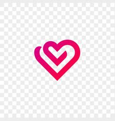 Heart logo line flat web app icon vector