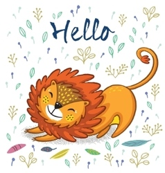 Hello cute lion cartoon vector
