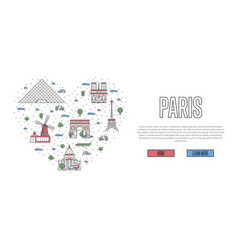 I love paris poster in linear style vector