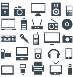 Icon set gadgets computer equipment and vector image