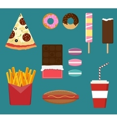 Junk fast food flat style set vector