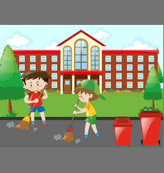 Kids sweeping the road vector