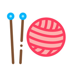 knitting needles icon outline vector image