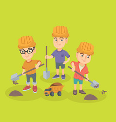 Little boys playing with sand spade and toy truck vector