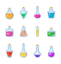 magic bottle magical game potion in glass vector image