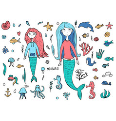 mermaid and sea set vector image