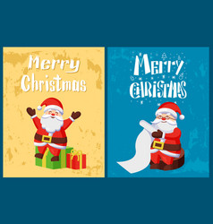 merry christmas santa claus read wish list gifts vector image
