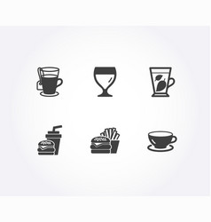 mint leaves burger and tea icons hamburger wine vector image