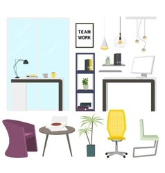 Modern office interior elements Office furniture vector image