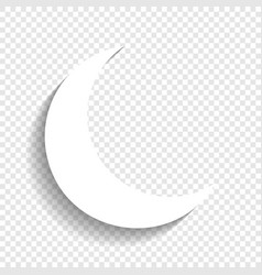 Moon sign white icon with vector