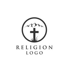 mountain and religion logo vector image