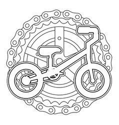 mountain bicycle with chain and sprocket vector image