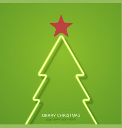 Neon christmas tree background vector