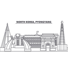 North korea pyongyang line skyline vector