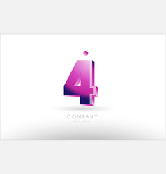 Number 4 four black white pink logo icon design vector