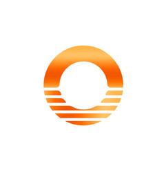 Orange sun icon abstract letter o sunrise vector