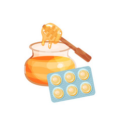 package of lozenges with honey flavor taste vector image