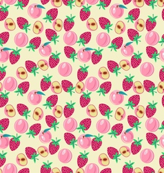 pattern with Peach and strawberries Fruits vector image