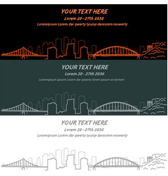 Pittsburgh event banner hand drawn skyline vector