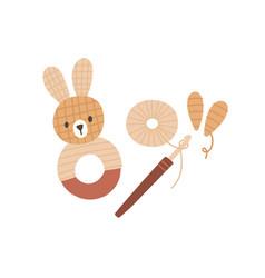 Pom-pom animal toy yarn threads and crochet hook vector