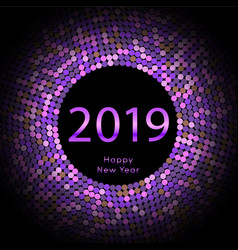 Purple discoball new year 2019 greeting poster vector