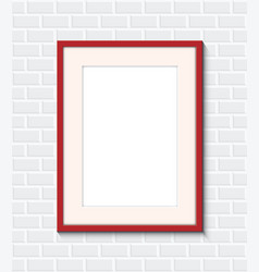 Red frame on a brick wall vector